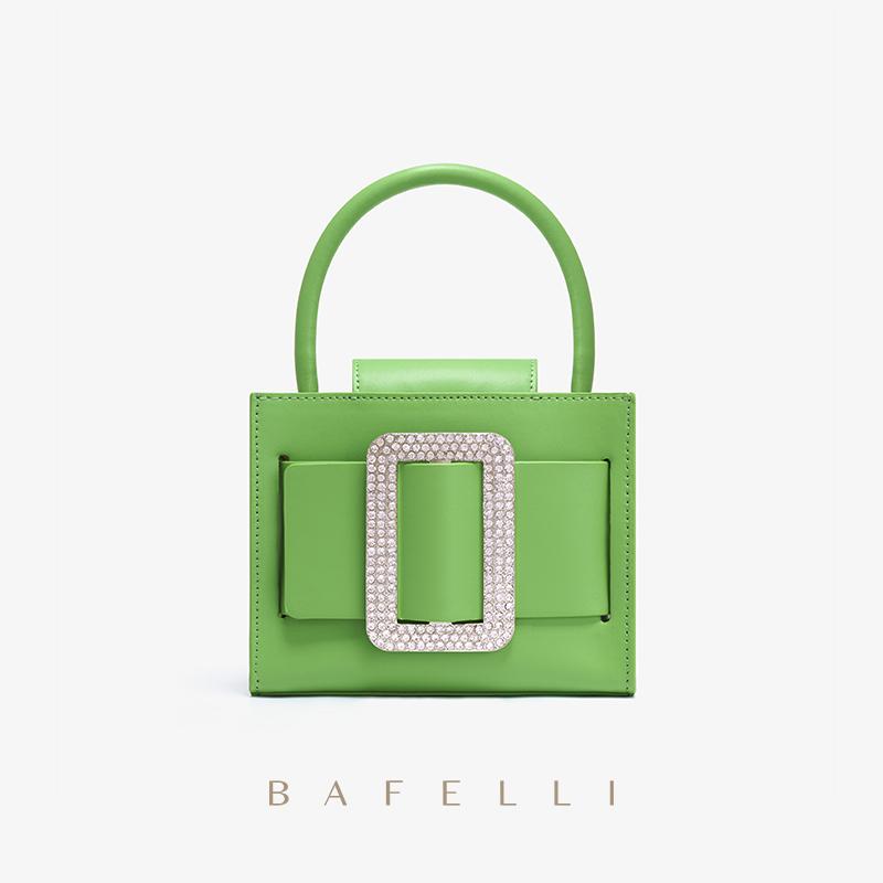 绿色手提包 包包女新款2021网红潮手提包小众时尚绿色高级感斜挎包镶钻小方包_推荐淘宝好看的绿色手提包