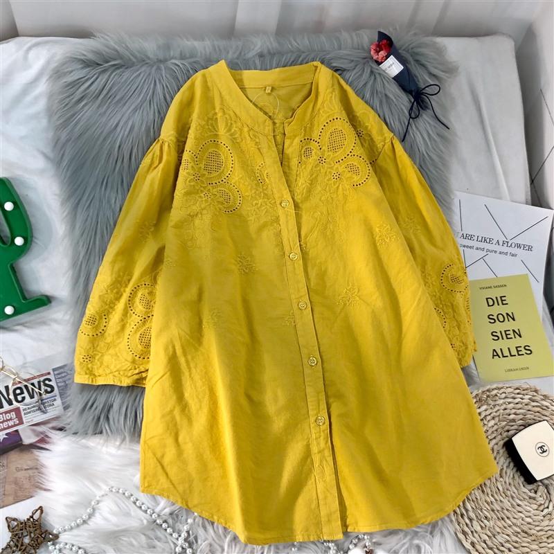 女装品牌 棉麻蕾丝镂空上衣2020春夏装新款女装中袖亚麻衬衣上衣t恤_推荐淘宝好看的女装