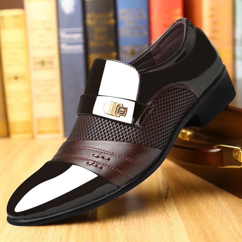 皮鞋 2020新品男皮鞋韩版大码商务正装皮鞋男尖头亮面英伦办公室鞋子男_推荐淘宝好看的皮鞋