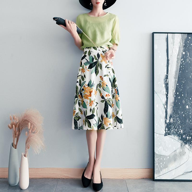 绿色雪纺半身裙搭配 茶歇裙绿色连衣裙子两件套女夏季新款短袖雪纺碎花半身长裙套装女_推荐淘宝好看的绿色雪纺半身裙