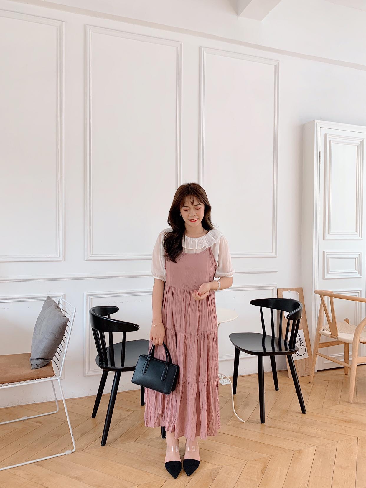 娃娃领短袖连衣裙 于旭家小个子 娃娃领薄款短袖T恤+褶皱吊带连衣裙一套套装_推荐淘宝好看的娃娃领短袖连衣裙