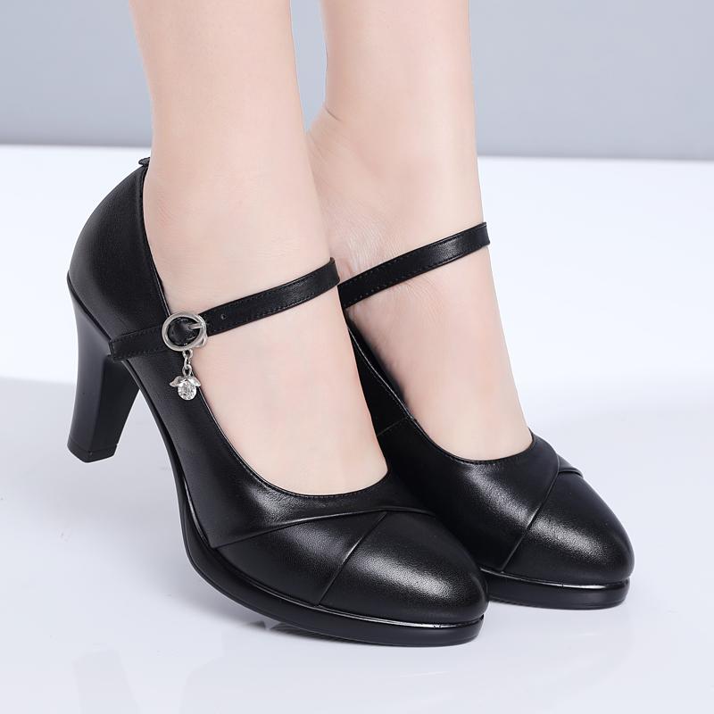 黑色高跟单鞋 雪地意尔康旗袍走秀鞋黑色中跟单鞋模特真皮女鞋高跟职业工作鞋女_推荐淘宝好看的女黑色高跟单鞋