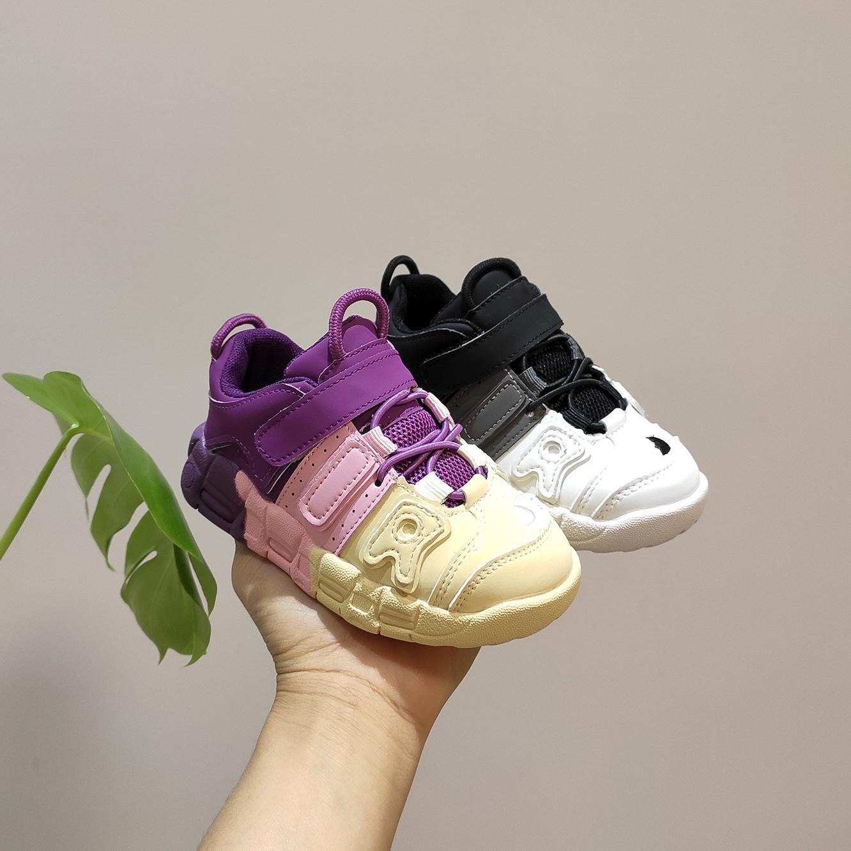 耐克运动鞋新款 帕耐克丝童鞋年春季新款童鞋韩版女童渐变色时尚运动鞋男童软底防_推荐淘宝好看的女耐克运动鞋新款