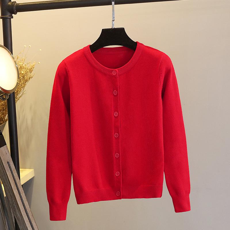 红色针织衫 红色针织开衫春秋2021年新款修身毛衣外套女圆领外搭外穿长袖百搭_推荐淘宝好看的红色针织衫