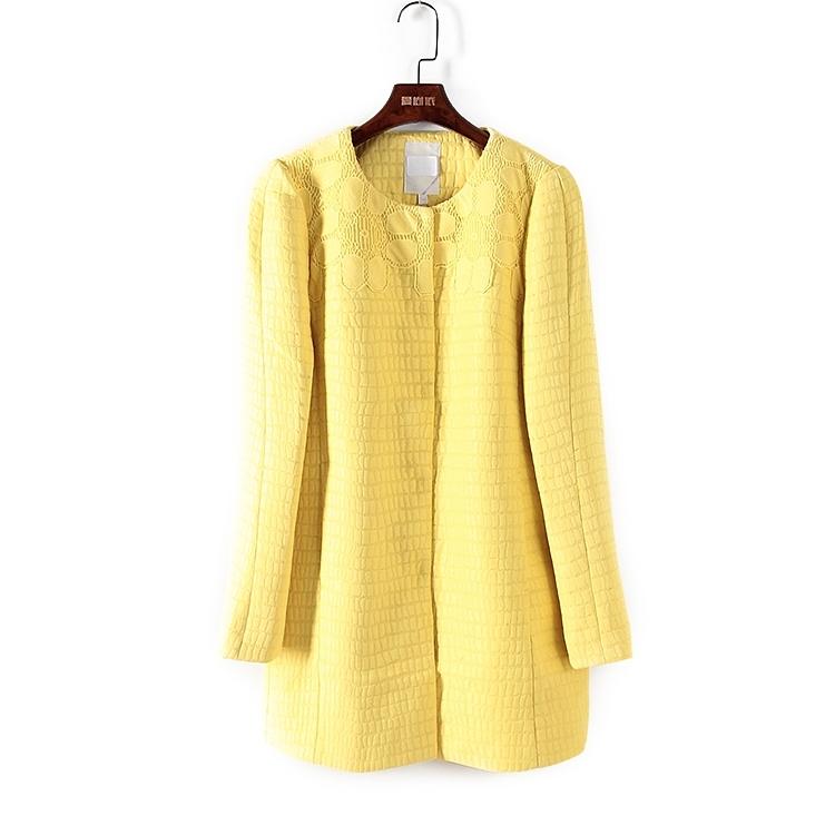 黄色风衣 丽系列:折扣店新款女装气质职业韩版修身黄色风衣外套T915_推荐淘宝好看的黄色风衣