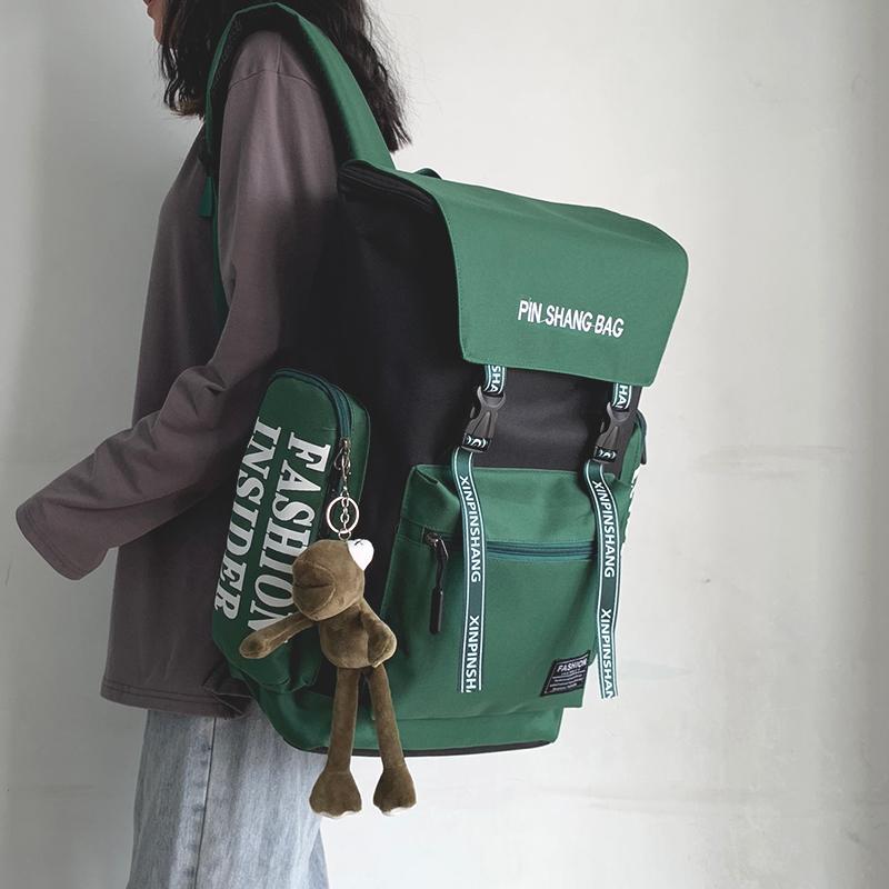 包包 书包女韩版高中大学生工装港风双肩包ins百搭大容量旅行背包男潮_推荐淘宝好看的女包包