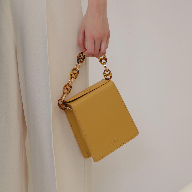 黄色链条包 VintageMuse新款烟盒包黄色小包包真皮单肩女包链条手提包斜挎包_推荐淘宝好看的黄色链条包