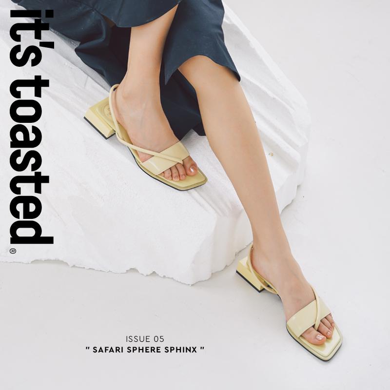 黄色鱼嘴鞋 ITISTOASTED设计师原创 几何线条方跟凉鞋露趾嫩黄色【午后】夏季_推荐淘宝好看的黄色鱼嘴鞋