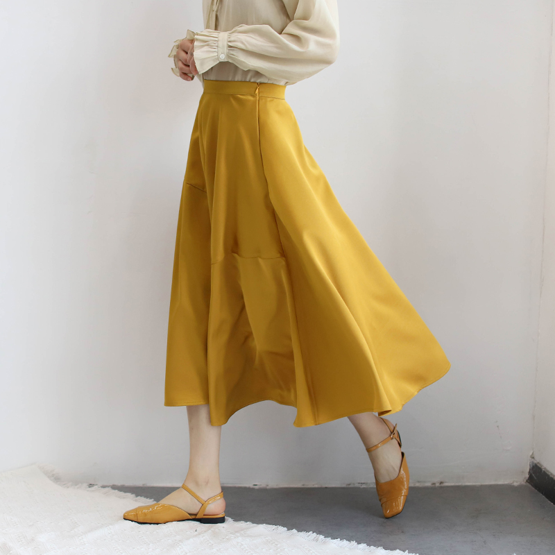 黄色半身裙 原创 ins暗金色缎面不规则半身裙 姜黄色复古反光醋酸质感A字伞裙_推荐淘宝好看的黄色半身裙