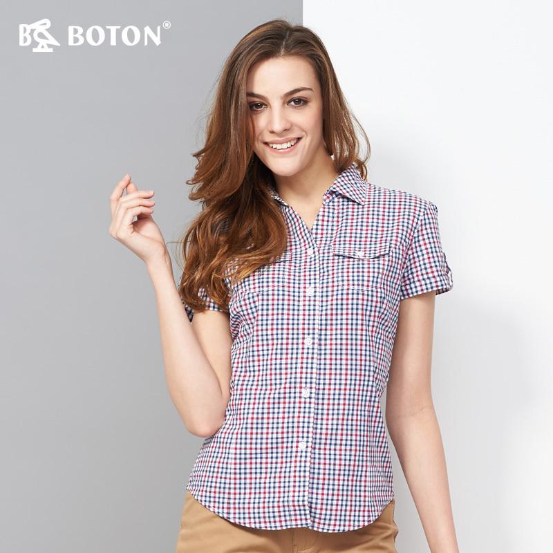 红格子衬衫 波顿Boton红蓝小格子短袖衬衫女式夏装全棉女款修腰衬衣LS715214_推荐淘宝好看的女红格子衬衫