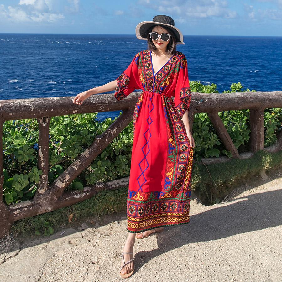 大码连衣裙 新款 民族风沙滩裙女夏2018新款海边度假长裙印花大码显瘦红色连衣裙仙_推荐淘宝好看的大码连衣裙