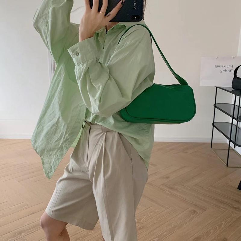 绿色糖果包 法式腋下包糖果绿色夏天包包女2021新款简约斜挎单肩包软皮法棍包_推荐淘宝好看的绿色糖果包