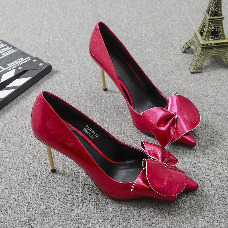 粉红色单鞋 欧洲站风格2020春季新款欧货真皮花瓣粉红色浅口尖头高跟鞋单鞋女_推荐淘宝好看的粉红色单鞋
