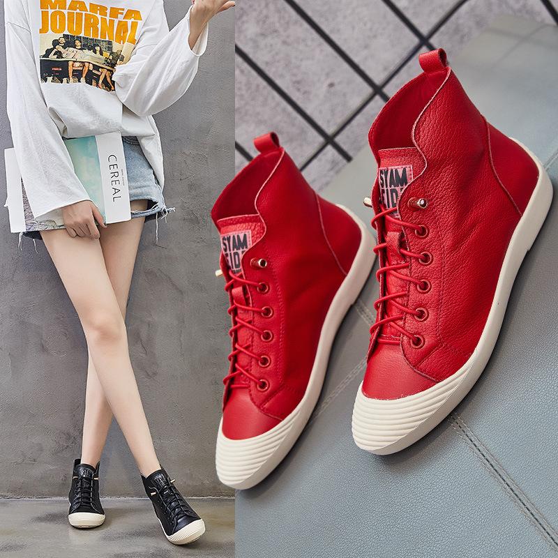 红色高帮鞋 品牌高帮鞋女大红色20春夏真皮平底中国红运动板鞋韩版短靴小白鞋_推荐淘宝好看的红色高帮鞋