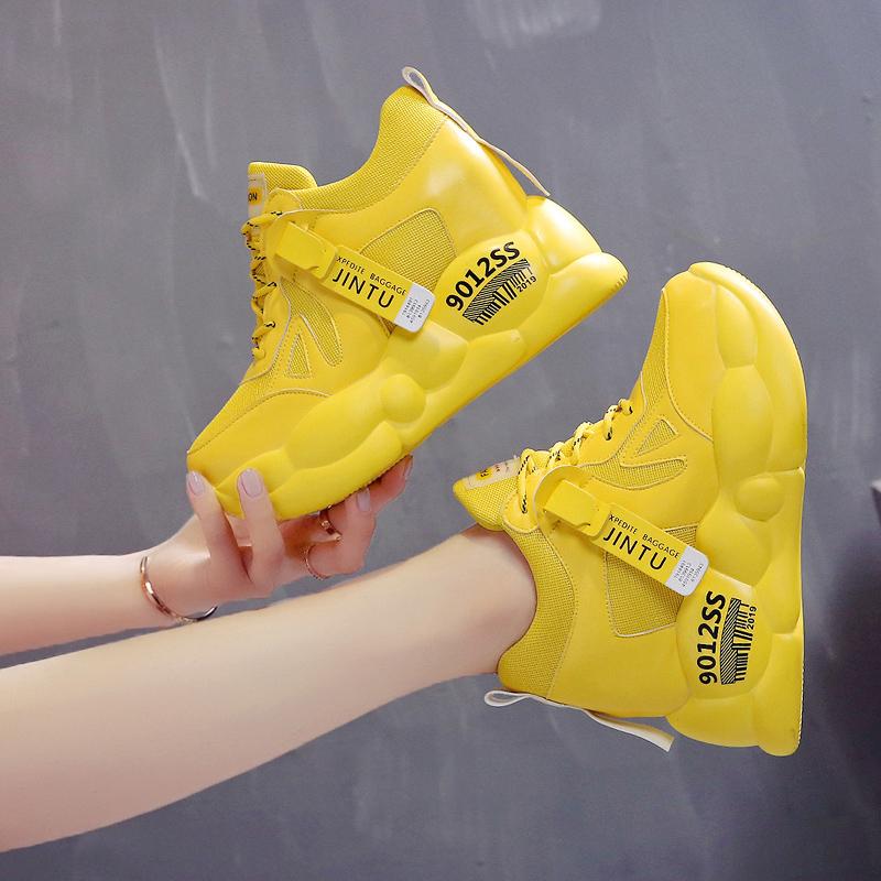 绿色运动鞋 小个子老爹鞋女ins绿色内增高休闲鞋女2020春秋新款潮时尚运动鞋_推荐淘宝好看的绿色运动鞋