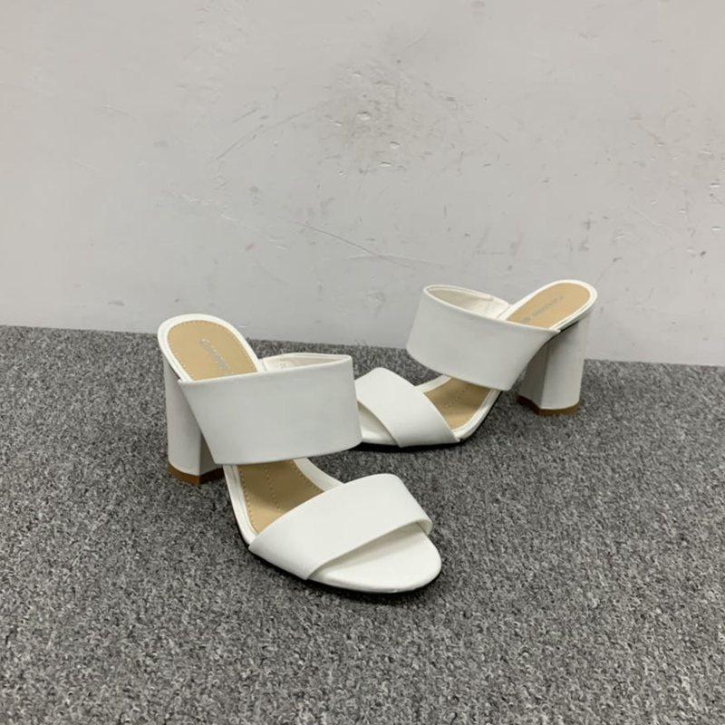 坡跟罗马鞋 外贸女鞋高跟粗跟坡跟时尚出口罗马鞋百搭一字式纯白色清凉包邮_推荐淘宝好看的坡跟罗马鞋