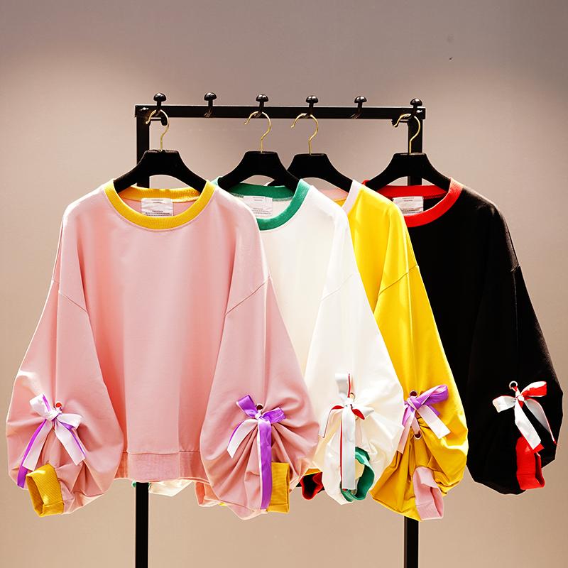 韩版套头卫衣 2021春装新款韩版宽松中长款长袖套头卫衣女纯色学生外穿超火上衣_推荐淘宝好看的女韩版套头卫衣