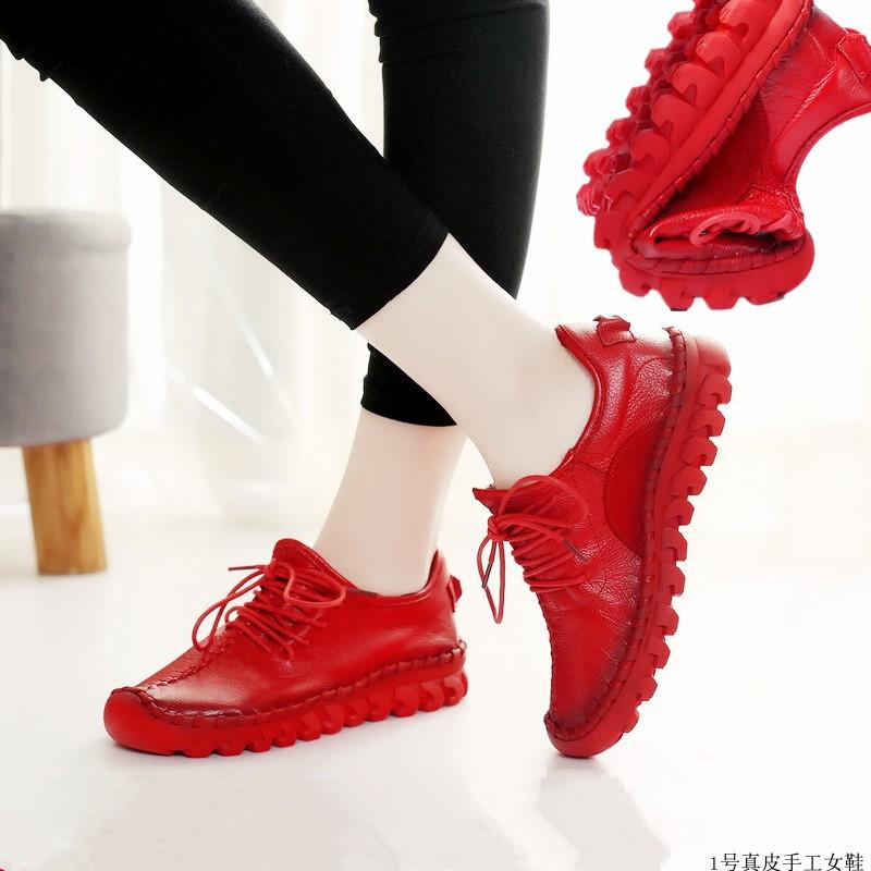 红色运动鞋 春秋软皮牛皮单鞋真皮软底旅游鞋红色休闲皮鞋平底妈妈鞋运动女鞋_推荐淘宝好看的红色运动鞋