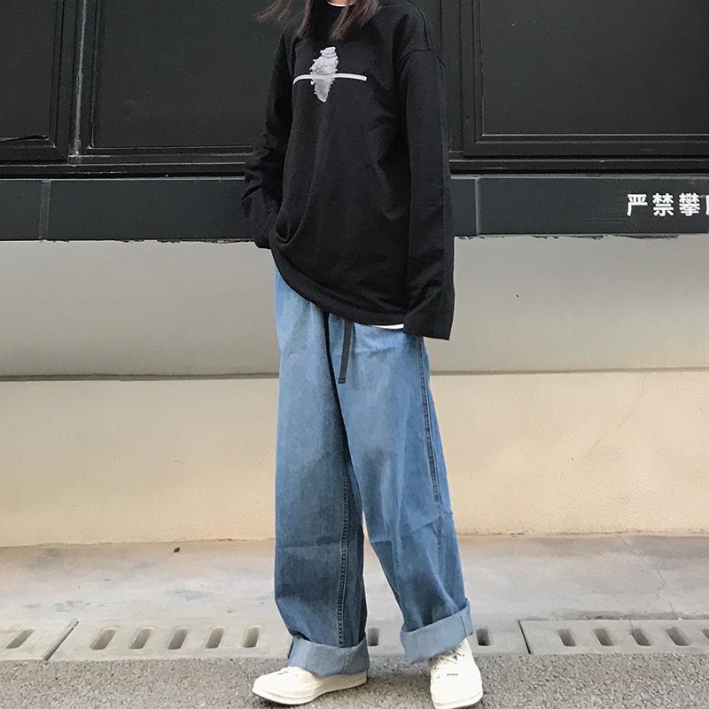 低腰直筒牛仔裤 KTDA 2020重磅水洗潮牌直筒腰带长裤 男女情侣潮牌日系牛仔裤长裤_推荐淘宝好看的女低腰直筒牛仔裤