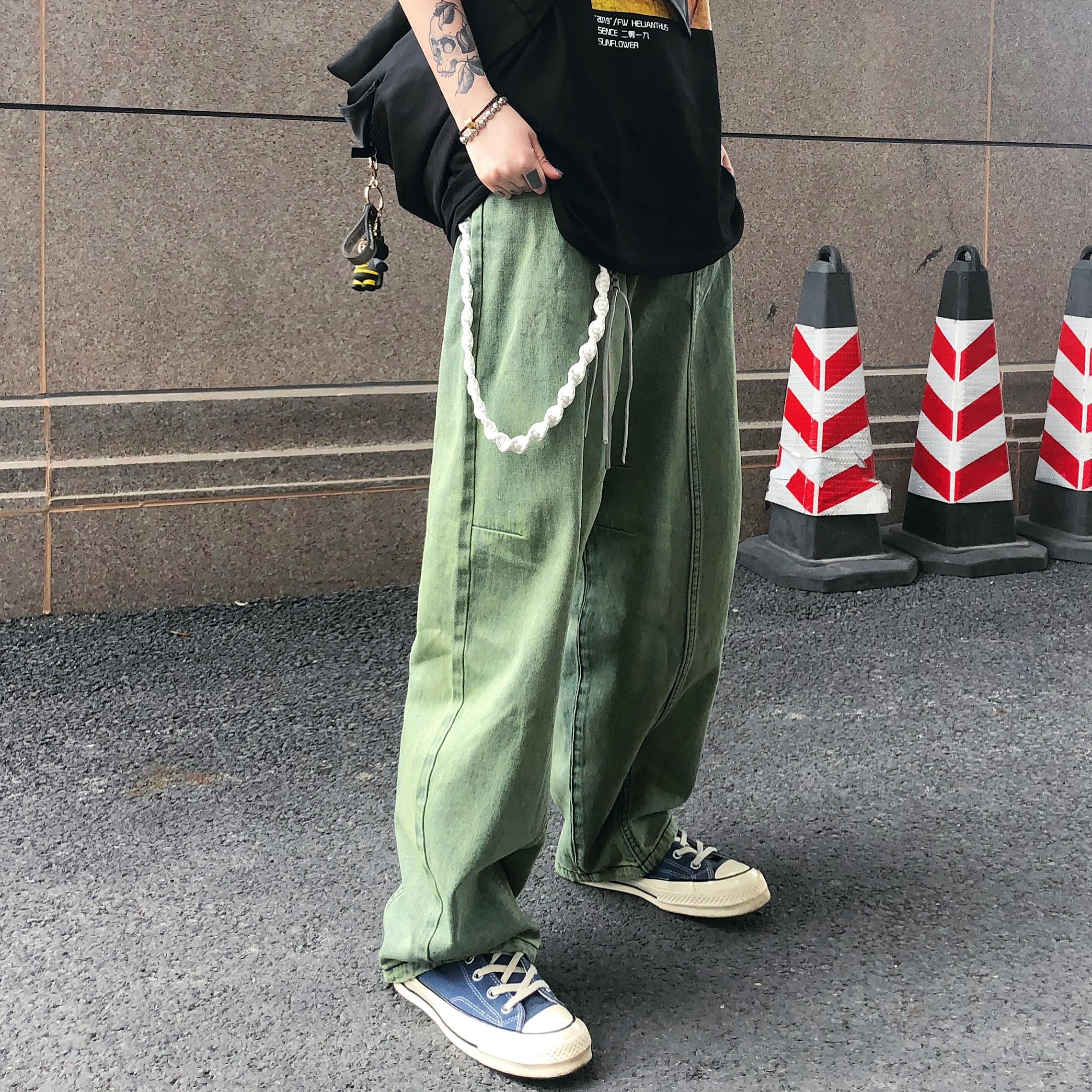 低腰直筒牛仔裤 LKSTORE TWOWINLAB 2020SS国潮绿色水洗嘻哈牛仔裤男女宽松直筒裤_推荐淘宝好看的女低腰直筒牛仔裤