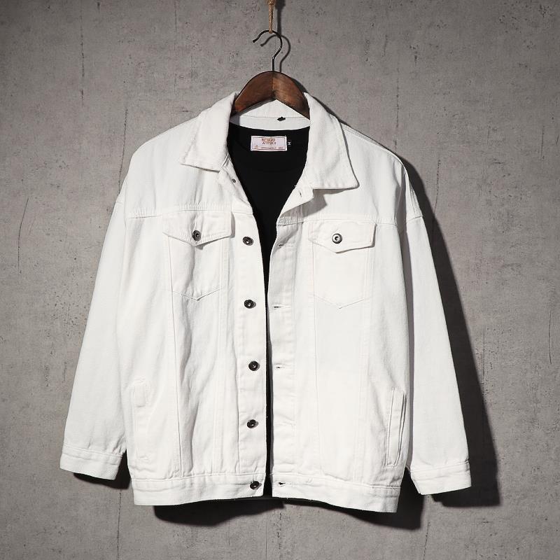 牛仔夹克 春秋季新款男士牛仔夹克青年学生情侣白色上衣纯色做旧韩版外套潮_推荐淘宝好看的男牛仔夹克