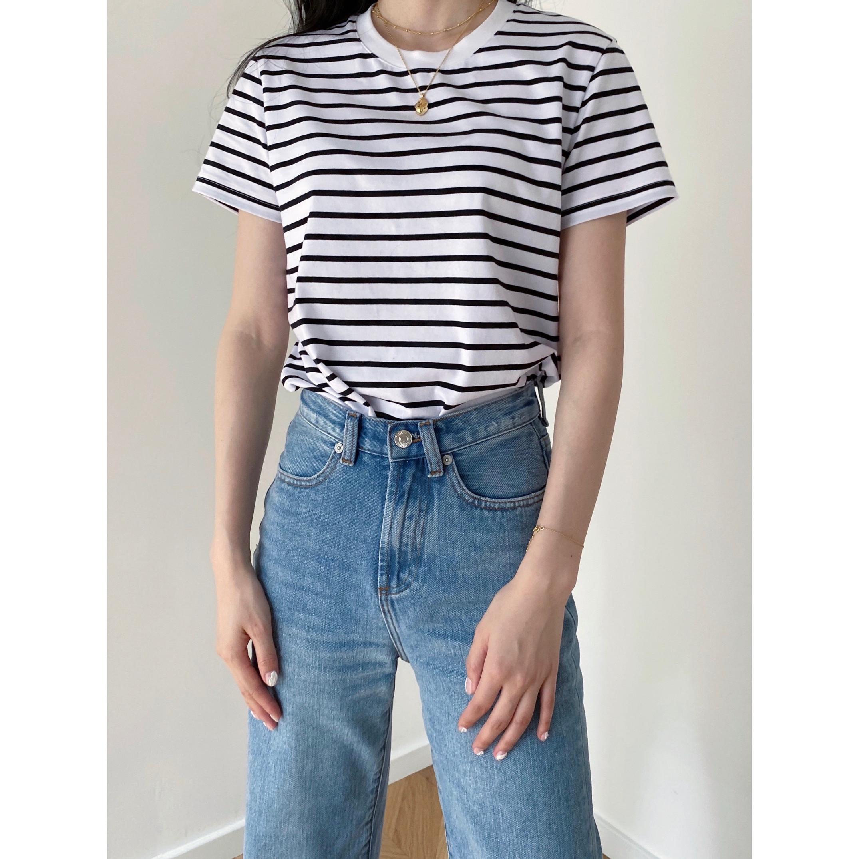 女短袖t恤 Neutral generation夏季条纹平纹针织棉圆领修身百搭女短袖t恤_推荐淘宝好看的女短袖t恤