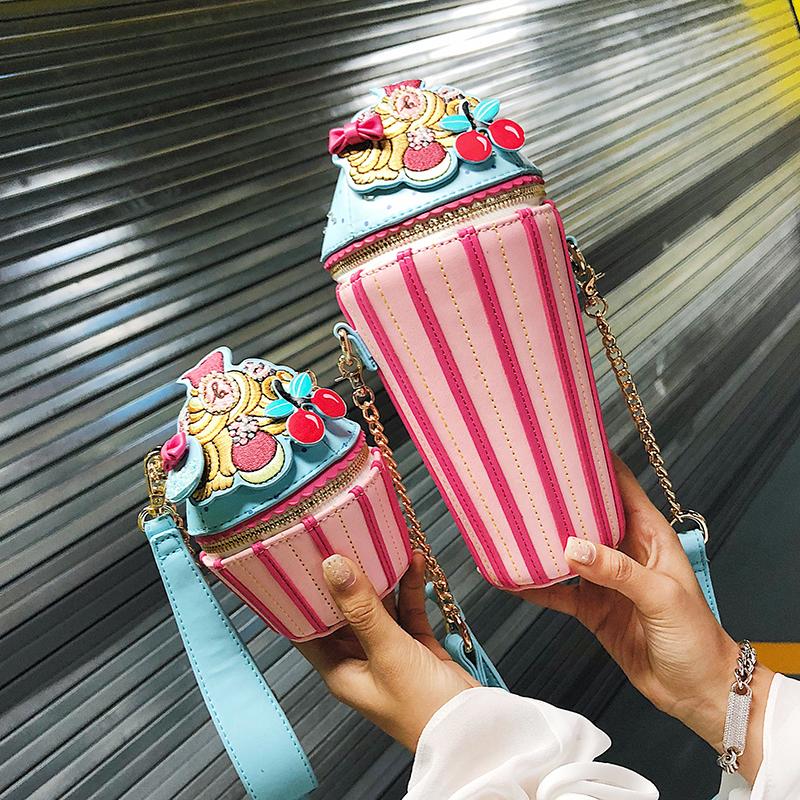 糖果包 冰激凌女包糖果色手工刺绣纸杯蛋糕造型零钱包单肩斜挎迷你小包包_推荐淘宝好看的女糖果包