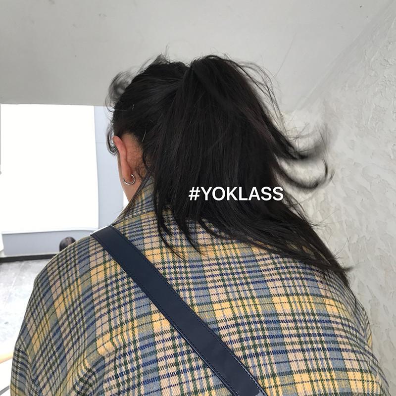 毛呢韩版外套 王少女的店 2020秋冬季黑色牛角扣毛呢格子短款韩版宽松大衣外套_推荐淘宝好看的女毛呢韩版外套