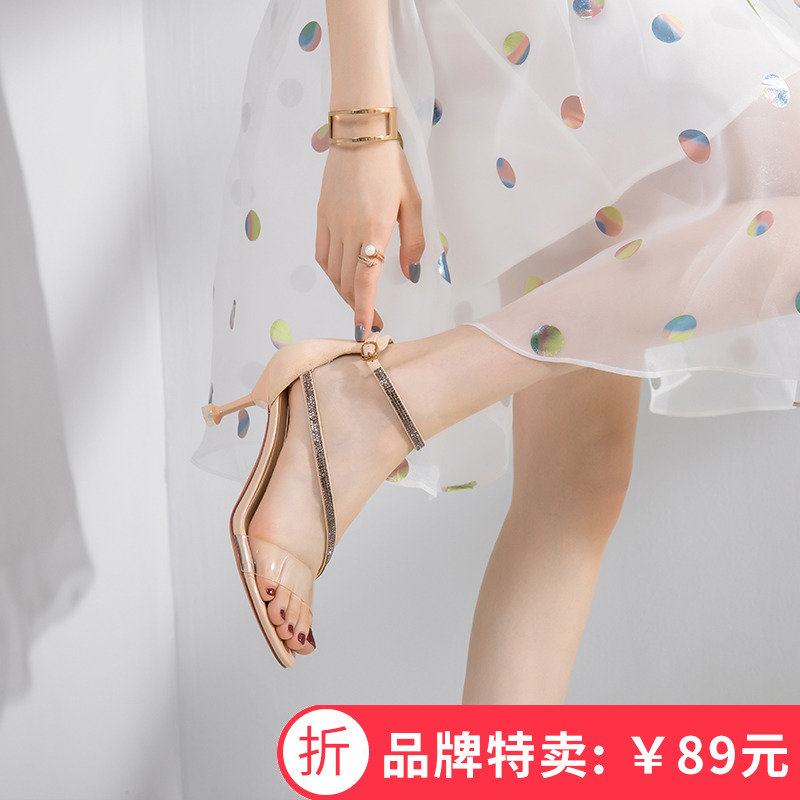 女式鱼嘴鞋 honeyGIRL2019新款闪钻搭扣露趾凉鞋女一字带高跟鞋细跟罗马鞋夏_推荐淘宝好看的女鱼嘴鞋