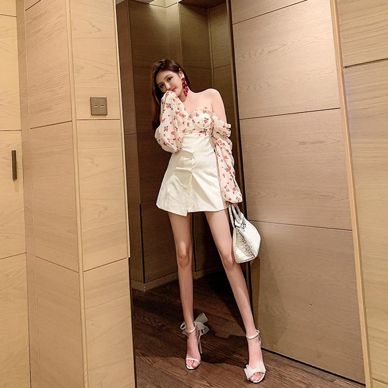 女半身裙 守衣奴2020夏季女装新款时尚高腰百搭复古洋气白色半身裙开叉短裙_推荐淘宝好看的半身裙