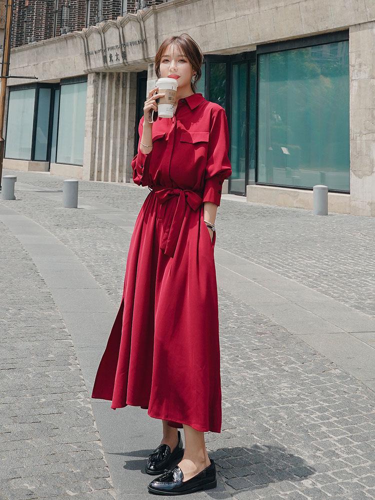 夏季长袖连衣裙 红色桔梗长袖连衣裙法式小众法国复古雪纺气质遮跨显瘦夏长裙裙子_推荐淘宝好看的夏长袖连衣裙