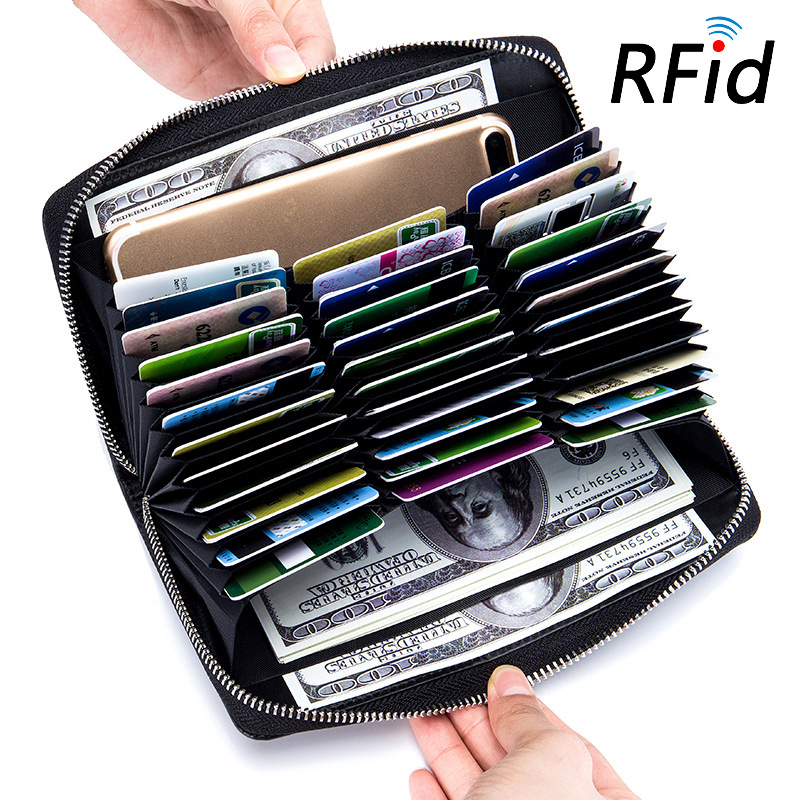 绿色钱包 多功能男女士大容量名片包真皮风琴卡包长款钱包护照包rfid多卡位_推荐淘宝好看的绿色钱包