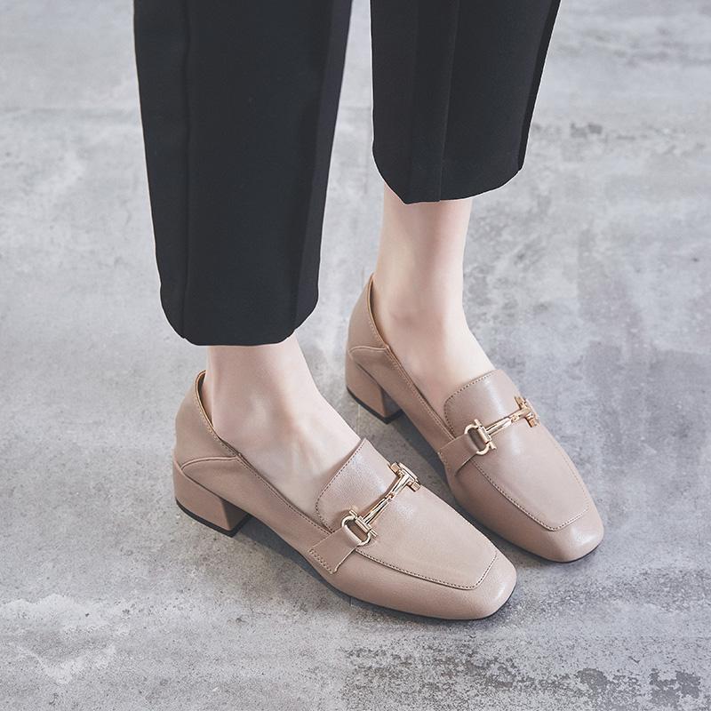女士豆豆鞋 粗跟中跟单鞋女2020秋新款金属扣英伦复古时尚柔软舒适豆豆鞋两穿_推荐淘宝好看的女豆豆鞋
