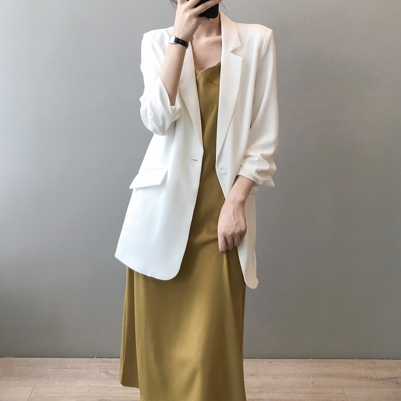 白色小西装 白色西装外套女夏季薄款宽松垂感七分袖休闲雪纺小西服防晒衣气质_推荐淘宝好看的白色小西装