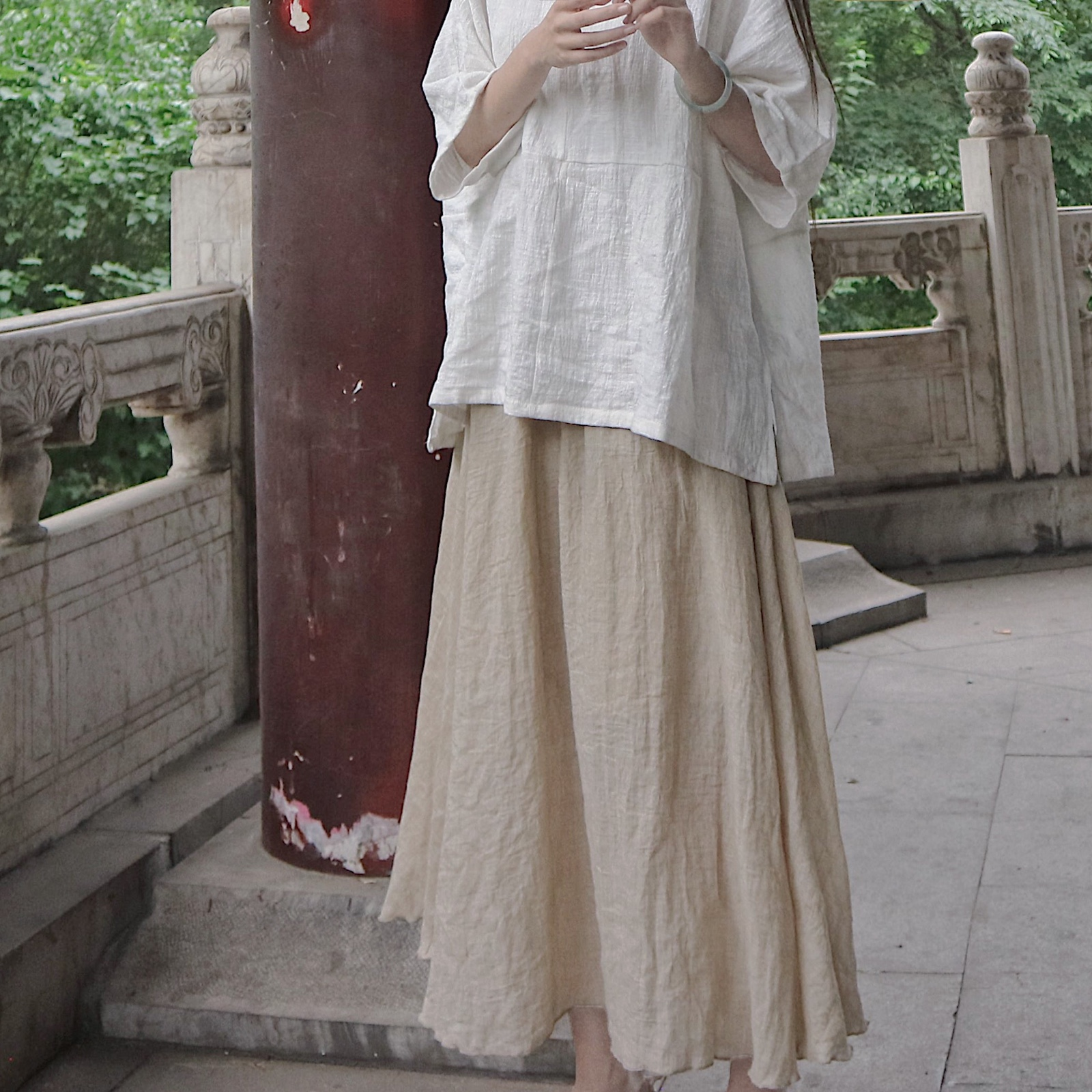 女半身裙 |眠石|米麻色素净文艺双层大摆棉麻半身裙_推荐淘宝好看的半身裙