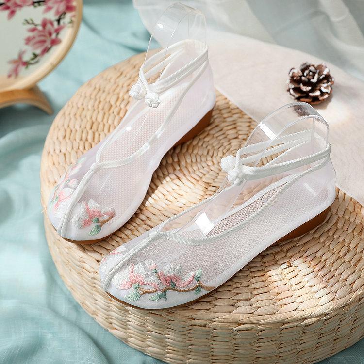 紫色坡跟鞋 夏季女士低坡跟网纱凉鞋淡雅白紫色绣花鞋古风汉服鞋时尚百搭网鞋_推荐淘宝好看的紫色坡跟鞋