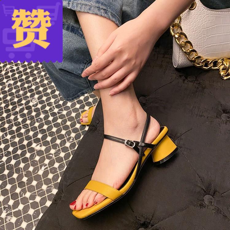 黄色罗马鞋 黄色罗马凉鞋女粗跟一字带方头2020年新款真皮拼色时尚夏季低跟_推荐淘宝好看的黄色罗马鞋