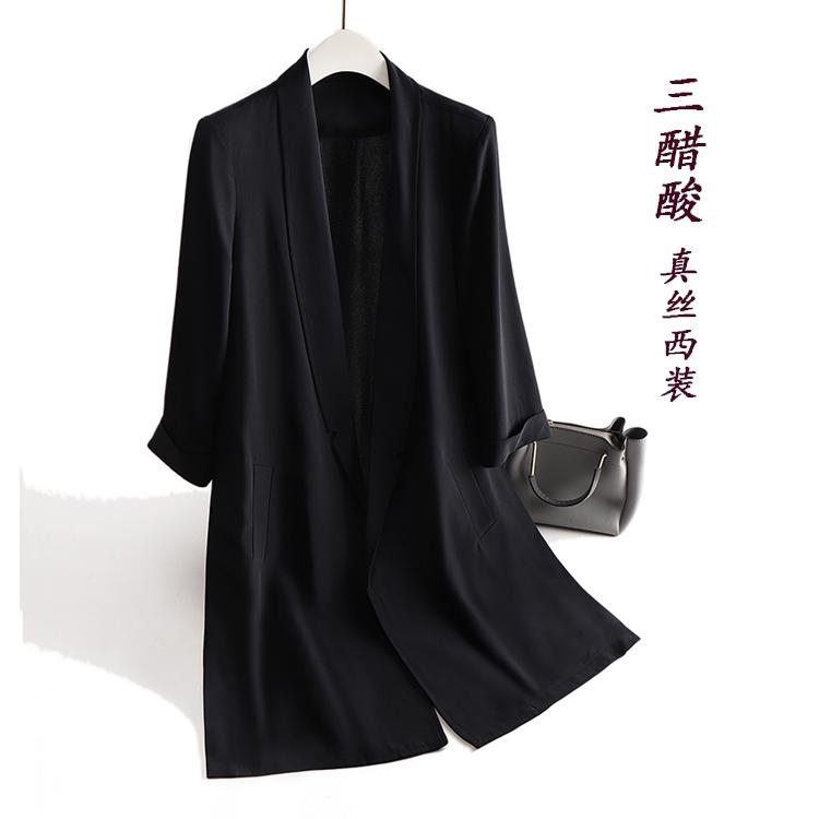 女士小西服 日本三醋酸西装外套女 薄款职场缎面修身黑色中长款小西服七分袖_推荐淘宝好看的女小西装