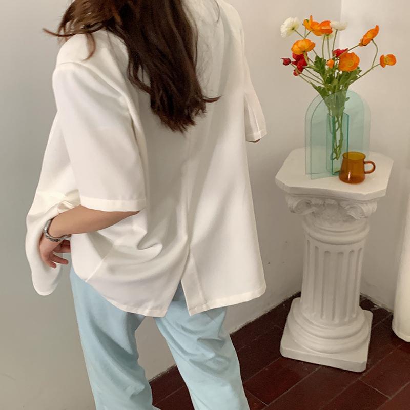 短袖小西装 林诗琦 2020年夏季新款奶白色短袖小西装外套女薄款韩版西服上衣_推荐淘宝好看的女短袖小西装