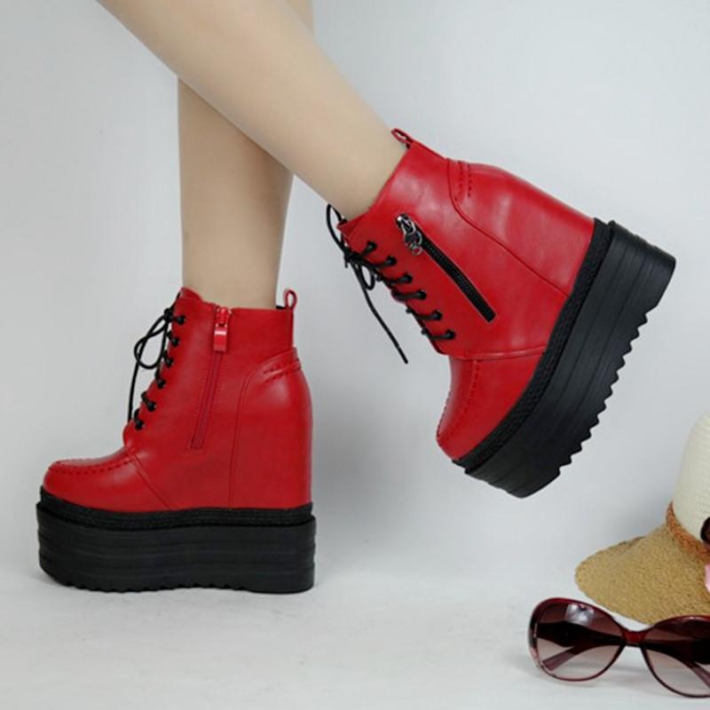红色松糕鞋 坡跟超高跟短靴13CM松糕厚底女鞋秋冬时尚前系带红色内增高马丁靴_推荐淘宝好看的红色松糕鞋