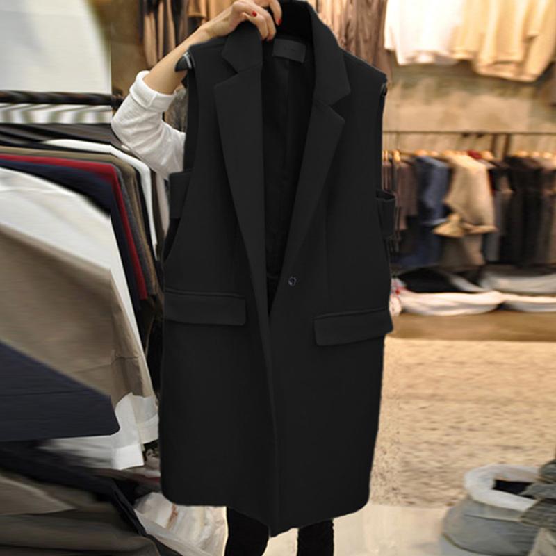 黑色马甲 韩国2021春季新款黑色气质中长款马甲女百搭西装无袖背心马夹外套_推荐淘宝好看的黑色马甲