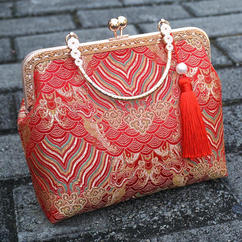 红色复古包 中式新娘包结婚用红色包包女大气网红款婚礼手提包中国风百搭复古_推荐淘宝好看的红色复古包