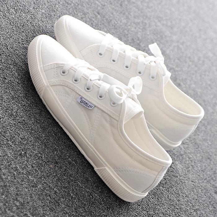帆布鞋 韩国2021春秋新款帆布鞋女平底低帮小白鞋女板鞋休闲百搭白色布鞋_推荐淘宝好看的女帆布鞋