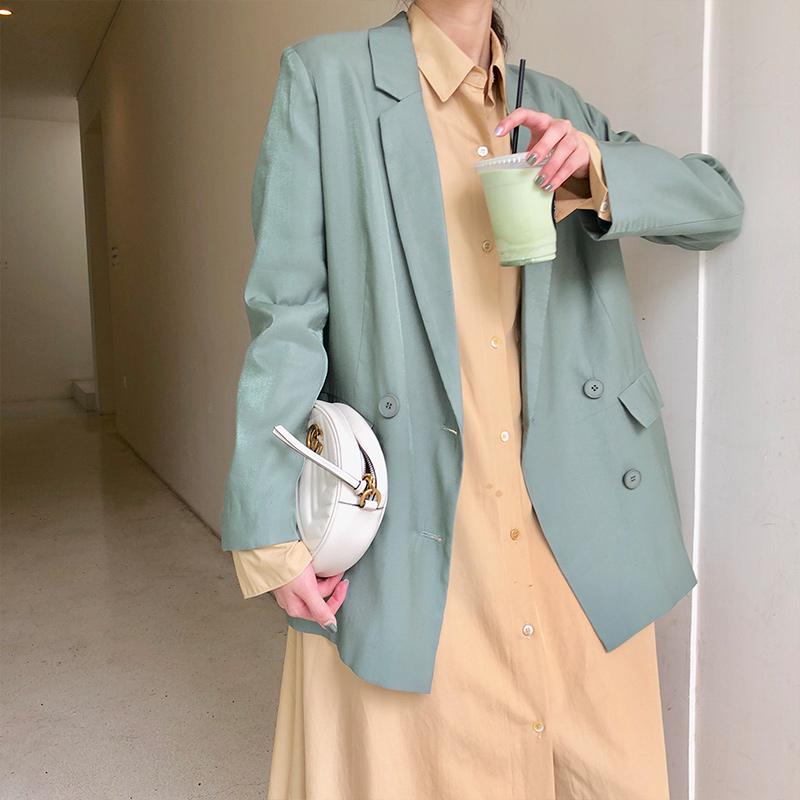 纯色休闲外套 女式西装外套2021春秋新款韩版英伦风宽松网红休闲纯色中长款上衣_推荐淘宝好看的女纯色休闲外套