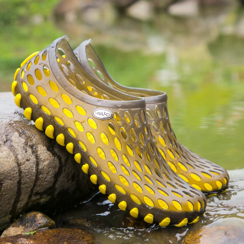 沙滩凉鞋 夏季沙滩洞洞鞋黑色透气网鞋防水凉鞋青少年学生塑料塑胶拖鞋男女_推荐淘宝好看的女沙滩凉鞋