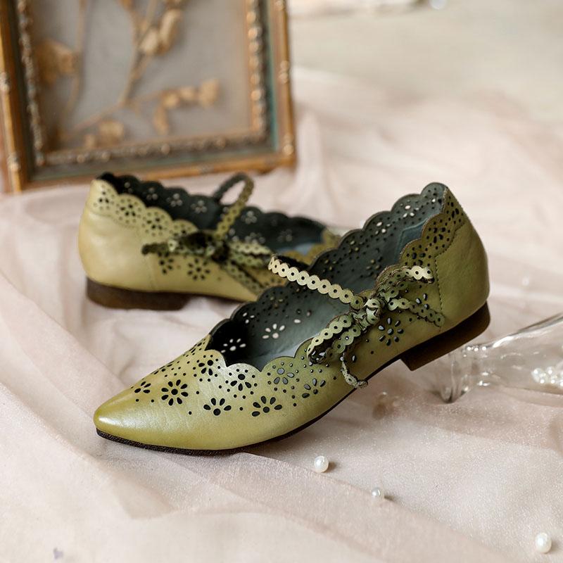 绿色凉鞋 脱毒罂粟 新古典美学 牛皮镂空包头蝴蝶结绿色软底女鞋真皮凉鞋女_推荐淘宝好看的绿色凉鞋