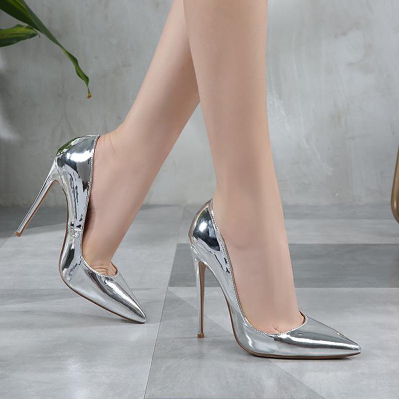 高跟鞋 2020秋冬新款网红尖头高跟鞋12CM银色镜面浅口女单鞋婚鞋大码裸鞋_推荐淘宝好看的女高跟鞋