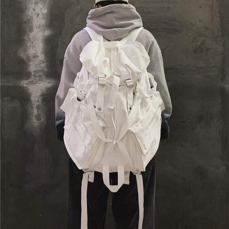 白色双肩包 双肩包女大容量机能风白色飘带包工装潮街拍男韩版高中大学生书包_推荐淘宝好看的白色双肩包