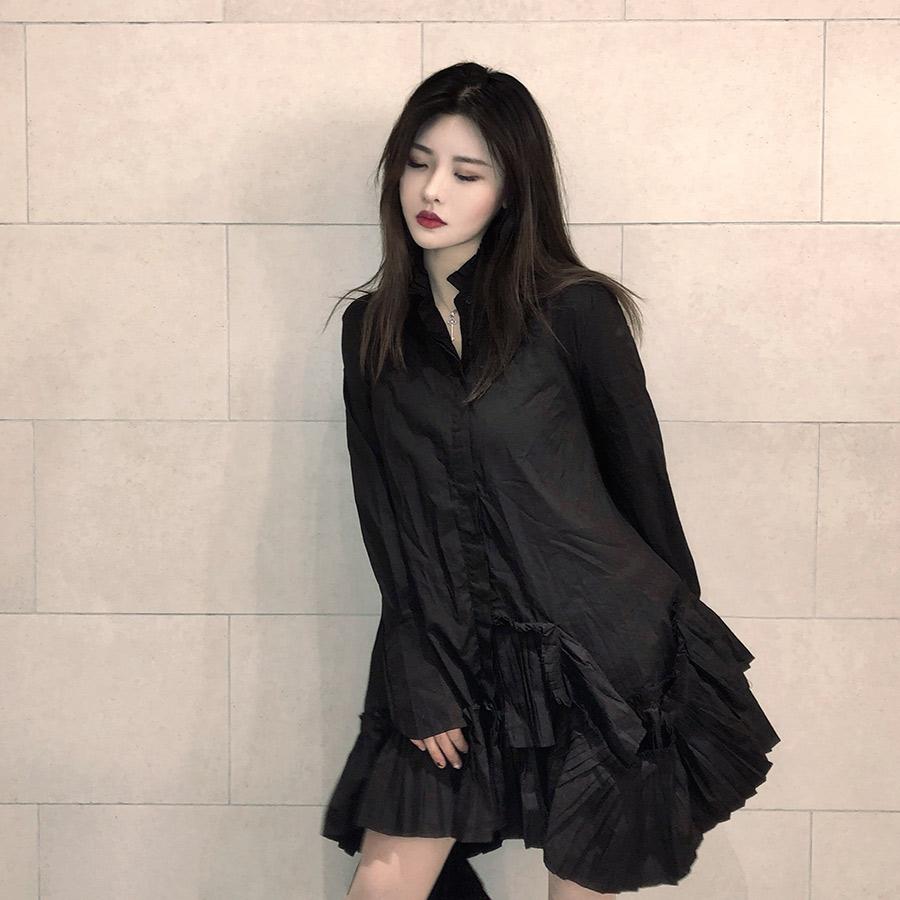 长袖连衣裙 【CHEEN】黑白色设计感小众暗黑风百褶裙摆衬衫女长袖连衣裙_推荐淘宝好看的长袖连衣裙
