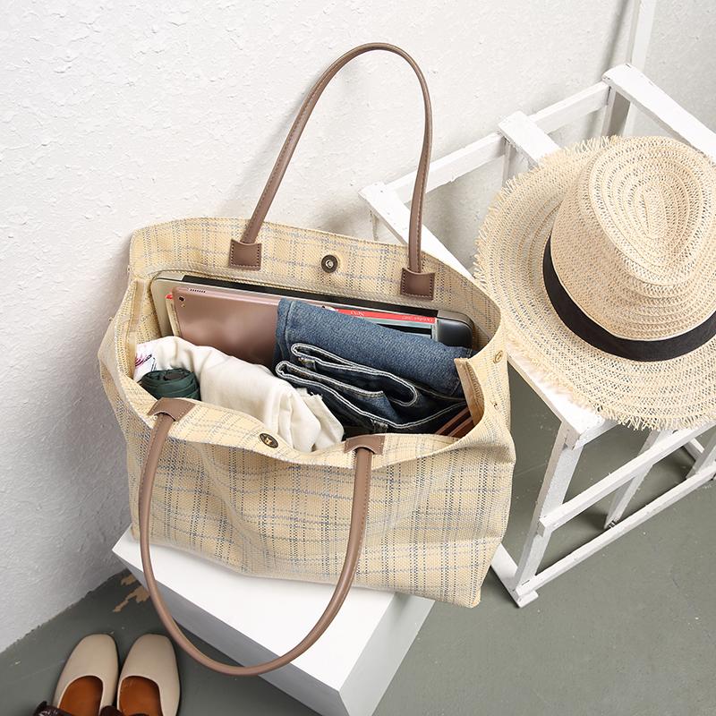 帆布包 2020春夏原创新款潮流格子帆布包大容量手提购物袋 简约旅行包女_推荐淘宝好看的女帆布包